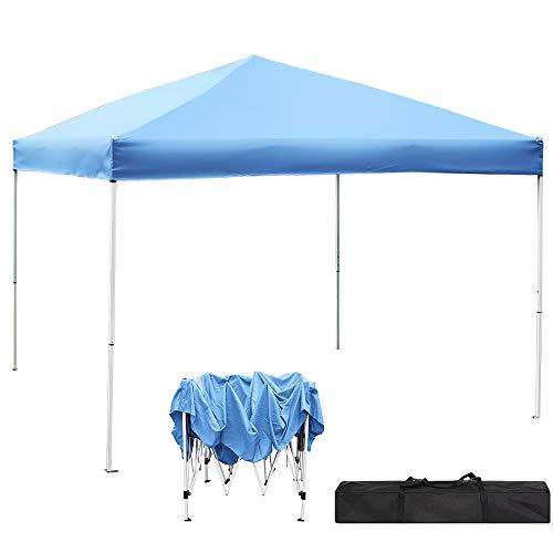 GREARDEN Pop up Canopy Tent - 10x10 Straight Leg Canopy - Blue