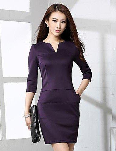 GSP-Damen Kleid - Übergrößen Sexy Solide Übers Knie Polyester V-Ausschnitt