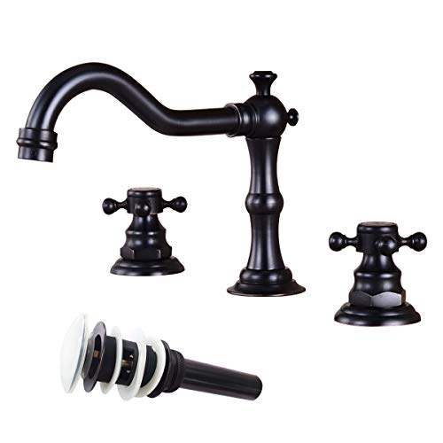 (Victorian Widespread Deck Mounted Three Holes Double Handles Bathroom Sink Faucet with Matching Pop Up Drain with Overflow,Oil Rubbed Bronze Vintage)