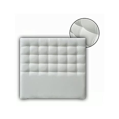 Ventadecolchones - Cabecero Tapizado Acolchado de Dormitorio Modelo Cube Largo en Polipiel Blanco y Medidas 106 x 125 cm para Camas de 90 ó 105