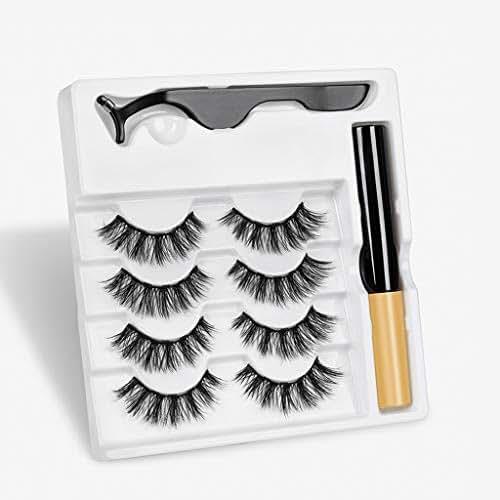 Yeamb Magnetic Eyeliner Eyelash Tweezer Set Long Lasting Extension Falses Lashes No Glue Reusable Natural Ultra Thin for Party Dating Wedding 3 Pairs,017