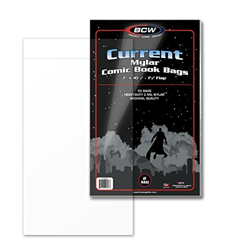 Comic Bags Mylar - BCW Supplies 2 Mil Current Comic Mylar (50 Count Pack)