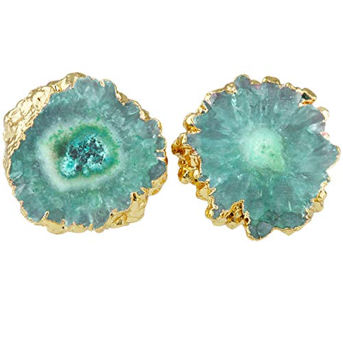 - SUNYIK Natural Quartz Geode Druzy Stud Earrings, Irregular Green