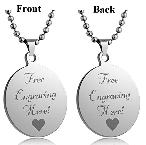 - Interway Trading Personalized Regular Size Custom Message Engraved Stainless Steel Necklace Dog Tag Pendant with 24 inch Chain,Velvet Giftpouch and Keyring (Round Silver)
