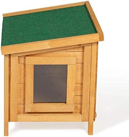 IDMarket - Maison pour Chat Niche en Bois avec Porte à lamelles