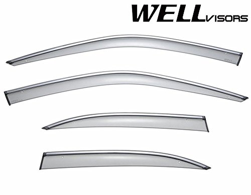 WellVisors Side Window Wind Deflector Visors - Made for and Compatible with BMW 5 Series E39 525 528 530 540 M5 1997 1998 1999 2000 2001 2002 2003 with Chrome Trim