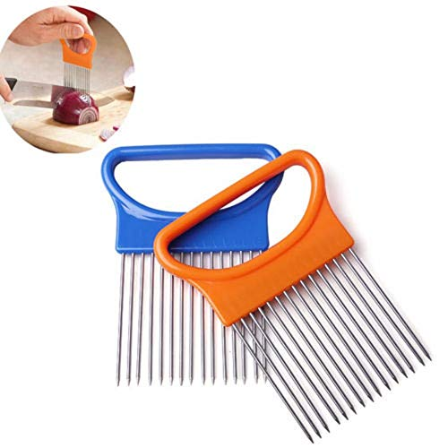 Shredders & Slicers - Vegetable Cutter Gadget Stainless Steel Easy Onion Holder Slicer - Chopper Bow Bake Gadget Cutter Cutter Onion Slicer Garlic Tool Slicer Holder Grater Slice Multifunct
