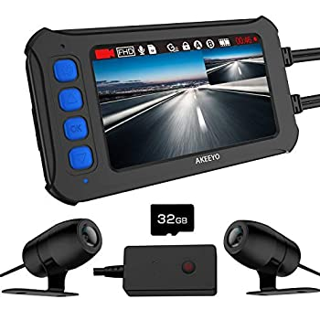 Image of On-Dash Cameras AKEEYO Motorcycle Dash Camera, IP67 Waterproof FHD 1080P Front and Rear 120° Wide Angle 3 Inch IPS Screen with WDR, Supercapacitor, G-Sensor, Loop Recording