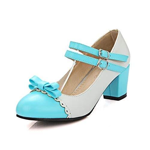 QOIQNLSN Zapatos De Mujer PU (Poliuretano) Caída De Bomba Básica Tacones Chunky Talón Negro/Azul / Rosa Blue
