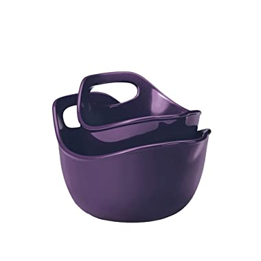 Rachael Ray Serveware Stoneware 2-Piece Mixing Bowls Set, Purple