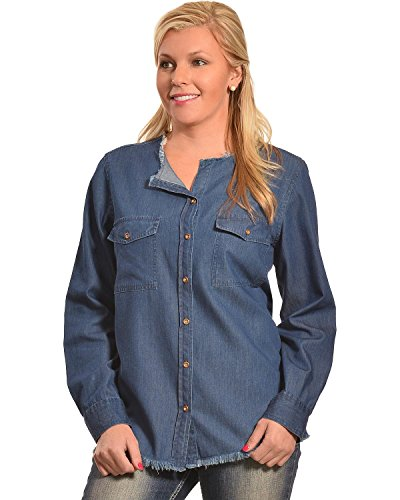 New Direction Sport Women's Frayed Edge Denim Shirt Indigo Medium (New Directions Clothing)