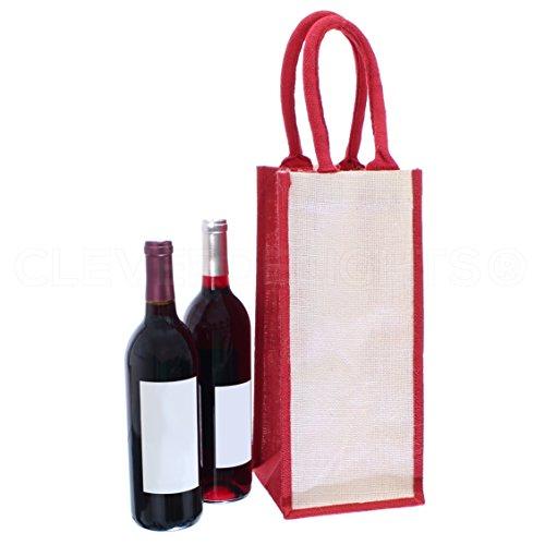 CleverDelights 4-Bottle Burlap Wine Tote - 14