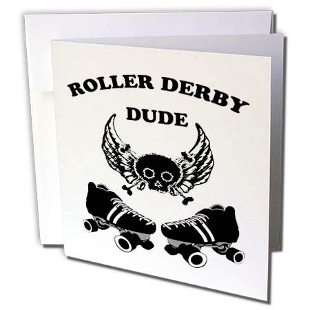 Skull Crossbones Wings - 3dRose BlakCircleGirl - Roller Derby - Roller Derby Dude - Roller Derby Dude Design with Wings Skates and a Skull and Crossbones - 1 Greeting Card with Envelope (gc_286896_5)
