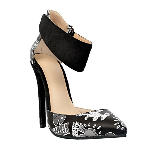 Kolnoo Womens Fashion Handmade High Heels Ankle Wrap D'orsay Party Office Pumps Shoes Black