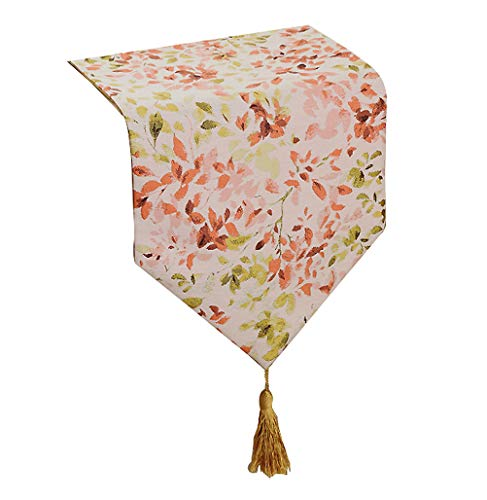 Yoovi Colorful Floral Table Runners Flowers Leaves Cotton an