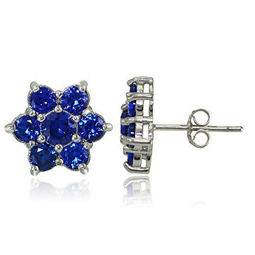 Blue Sapphire Flower (Sterling Silver Created Blue Sapphire Flower Stud Earrings)
