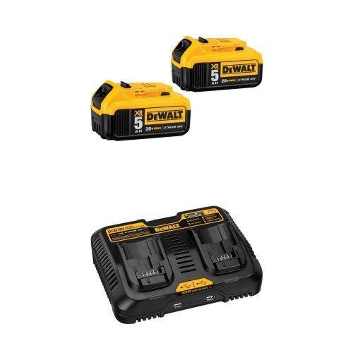 DEWALT DCB205-2 20V MAX XR 5.0Ah Lithium Ion Battery, 2-Pack w/ DCB102 12V Jobsite Charging Station by DEWALT