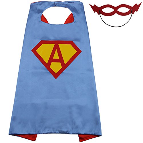 Capes for Kids Supergirl Cape Super Hero Capes for Kids for Boys Party Custom Initials of Name 25 Letters Halloween (Cape-A)]()
