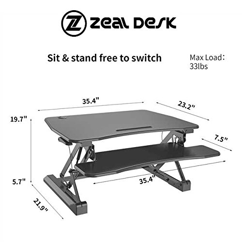 Zeal Height Adjustable Standing Desk Ergonomic Laptop Monitor Standing Dual Riser Sit to Stand Table Computer Workstation Desk (Black) by Zealdesk (Image #5)