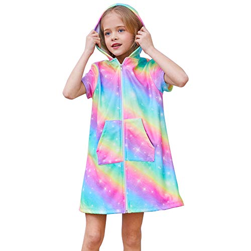 QtGirl Unicorn Cover Up for Girls Hooded Terry Cloth Cover Ups, Swimsuit Bathing Suit Cover Ups with Zipper for Kids Summer -