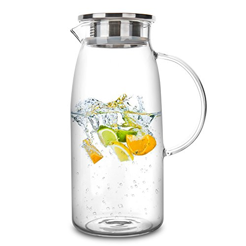 60 Ounces Glass Pitcher with Lid, Hot/Cold Water Jug, Juice and Iced Tea Beverage Carafe (Water Lid With Pitcher Crystal)