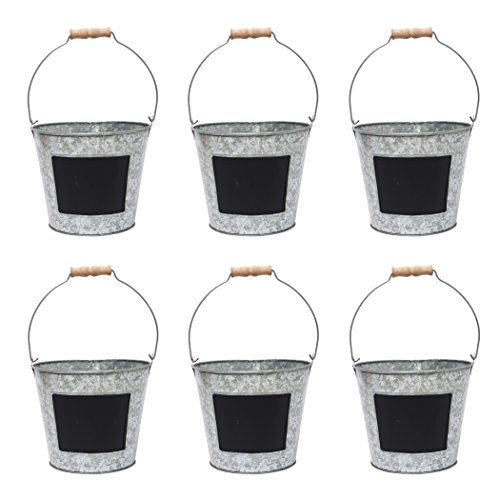 Hosley 7.5 Diameter, Set of 6 Metal Pail With Chalkboard. Ideal Gift for Wedding, House Warming, Floral Planter, DIY, Craft, Home Office, Party, Garden, Patio P1