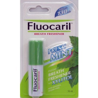 6 Packs of Fluocaril Instant Breath Freshener Mouth Spray Fresh Mint w/ Xylitol Sugar Free 15ml. Low Price ( Hot Items ) by gole by by gole