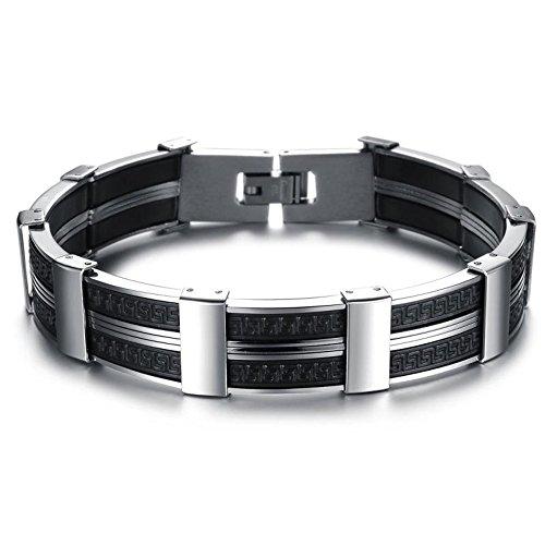 Fashion Silicone Shangshu Bracelet Men Charm Black Titanium Personality Men Bangle Hand Jewelry (Evil Bunny Costume)