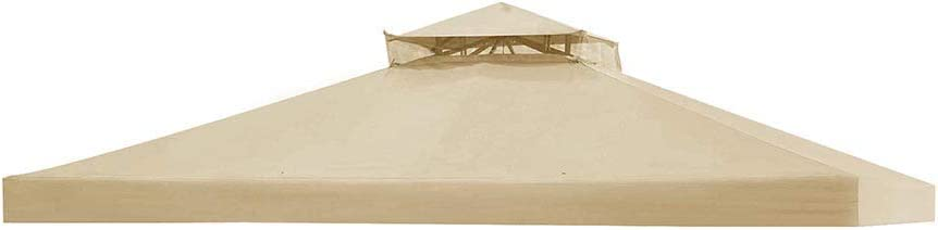 Yescom 11.8'x9.8' Canopy Top Replacement Beige for 2-Tier Sunjoy L-GZ288PST-4D Gazebo Cover