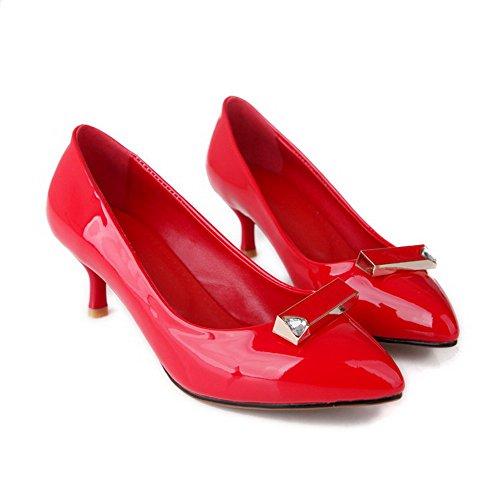 Odomolor Mujeres Tacón de aguja Sin cordones Puntera en Punta De salón con Ornamento Metal Rojo