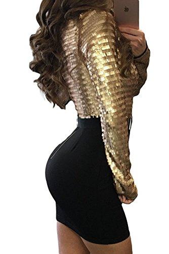 Neuf femmes Paillettes dorées à manches longues avec ceinture Mini robe Club Wear Robe bodycon Robe de fête Taille M UK 10–12–EU 40
