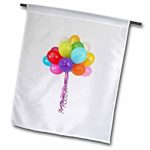 """3dRose fl_213318_1 Balloons, Picture of Multi Colored Balloons on Strings Garden Flag, 12 by 18"""""""