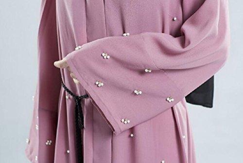 Coolred-femmes Perle Ceinture Abaya De Couleur Unie Jilbab Robe Rose Musulman
