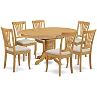East West Furniture AVON7-OAK-C 7-Piece Dining Table Set