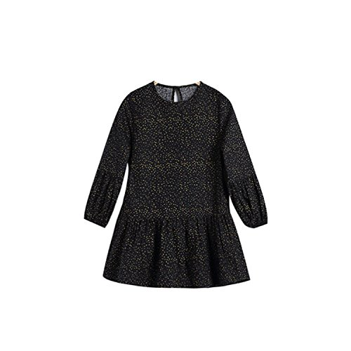 Unique-Shop 2018 2018 New Korean Quality Children's wear Dress Round Neck Floral Long-Sleeved Princess Skirt Dress,Black,1