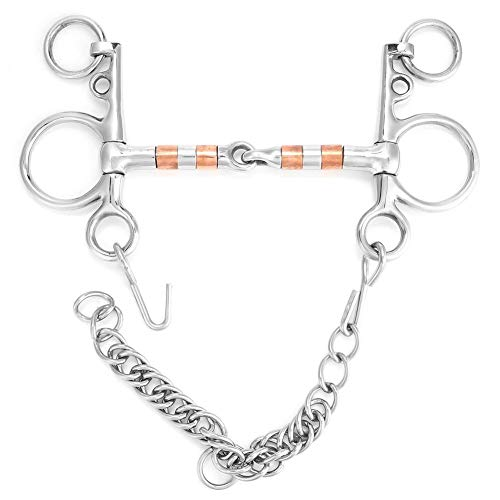 - Stainless Steel Horse Pelham Bit Mouth with Copper Roller Horse Chewing Mouth Roller(125mm)
