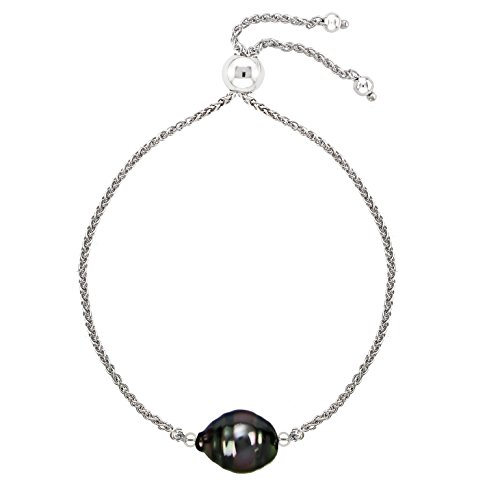 Tin Pearl Cup Tahitian (Sterling Silver Bolo Bracelet with 9x11mm Baroque Tahitian Cultured Pearl, 9.5