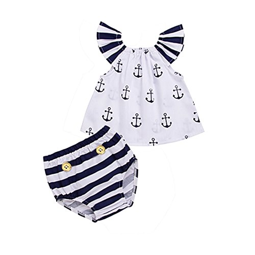 Girls Off Should Anchor Tops+Striped Briefs Outfits Set Sunsuit Clothes (White, 2-3 Years) ()