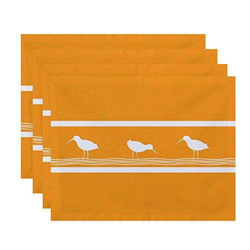 E by design PT4AN452YE8 18x14, Birdwalk, Animal Print Placemat, Yellow by E by design