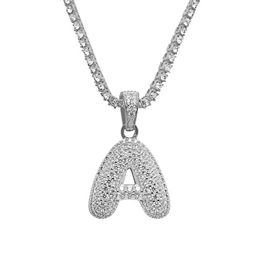 925 Sterling Silver White Gold-Tone Iced Out Hip Hop Swag Bling Bubble Letter A Pendant with 16'' 1 Row Chain by iRockBling