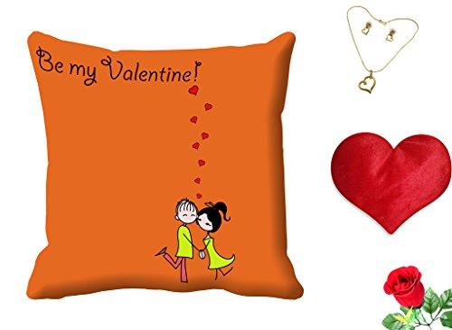 meSleep Be My Valentine Digital Printed Cushion (With Filler) free