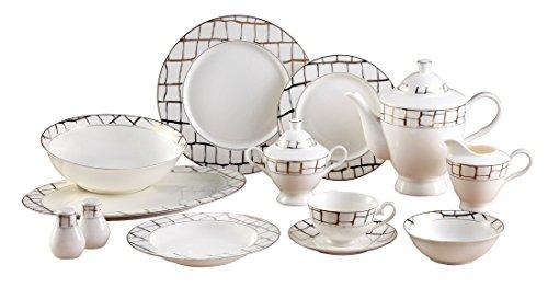 EURO Porcelain 57-Piece Large Dinner Banquet Set, 24K Gold-P