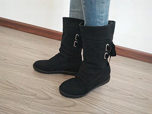 Mujer de en Plano Hembra Martin Negro ZH Zapatos E de 41 Fondo Otoño 43 Después Tamaño Occidentales Botas con de de Invierno Botas Las Gran Ufwq0ER