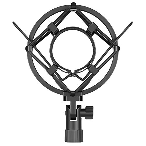 Neewer Black Universal Microphone Shock Mount Holder Clip Anti Vibration Suspension High Isolation with for Studio Condenser Mic, Idea for Radio Broadcasting Studio, Voice-over Sound Studio and ()