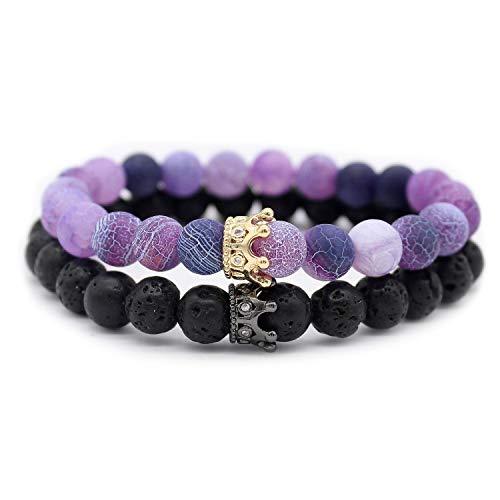 POSHFEEL Couple Black Matte Agate & Purple Weather Stone CZ Crown Queen 8mm Beads Bracelet, 7.5