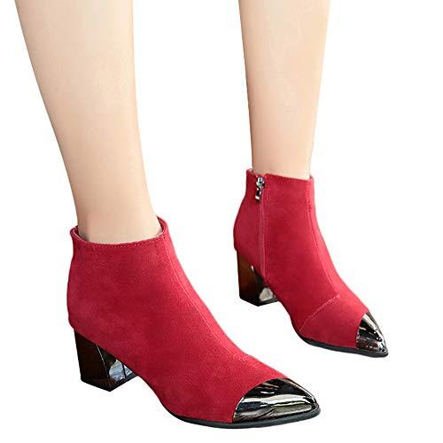 Donna Camoscio Con Stivaletti Stivali Donna Rosso Punta Tacco In Scarpe Zeppa Cerniera Moda Alto A boots axTFInFR