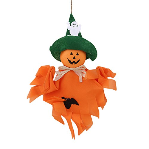 Hi-Unique Creative Halloween Decoration Hanging Ghost Windsock, Pumpkin Ghost Pendant for Patio Lawn Garden Party Holiday Decorations,Orange -