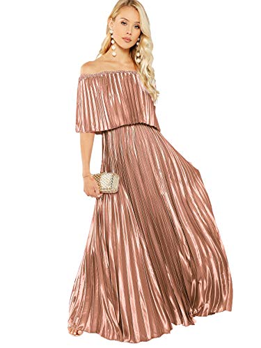 (Milumia Women's Foldover Front Off The Shoulder Layered Ruffle Party Maxi Dress Pink-3 Large)