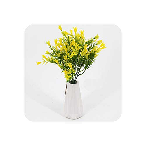 Bouquet Lily Valley Of The (Artificial Flowers Lily of The Valley for Wedding Decoration Real Touch Plastic Flower Bouquet Green Grass Plants,Yellow)