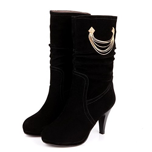 5 High Hollow with 5 Heels Womens AmoonyFashion Out B PU Closed Stiletto Boots Solid PU Black Round Toe and M Frost US q6g6InwUx